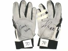 c5c8c4071a0 JASON FOX DETROIT LIONS ROOKIE GAME WORN   SIGNED NIKE GLOVES   MIAMI  HURRICANES