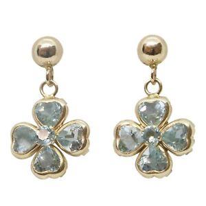 9ct Yellow Gold Fancy Love Heart Blue CZ Flower Cluster Drop Earrings - NEW