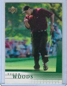 2001 UPPER DECK GOLF TIGER WOODS ROOKIE CARD #1 GREATEST OF ALL TIME ~ NEAR MINT