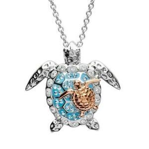 Muttertag Kristall Halskette Mutter Baby Turtle Anhänger Die Meeresschildkröte