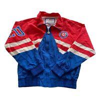 VTG 90s Chicago Cubs MLB Logo Athletic Blue Zip Windbreaker Jacket Men's Large