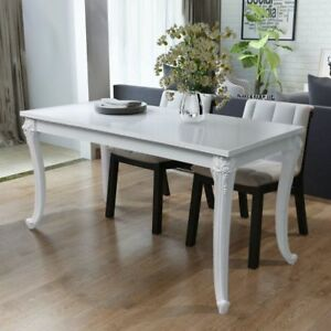 High Gloss Dining Table Room Kitchen Tables Rectangular Furniture Plastic White