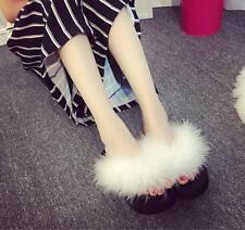 Womens Platform Creepers Flip Flops Faux Fur Thong Slippers Wedge Heel Shoes Sz