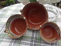 Vtg  Mexican Nesting Red Clay Mixing Serving  Bowl Set Of 3 Terra Cotta