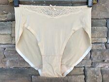 Vtg Maidenform Size M 6 Beige Nylon Hi-Leg Lace Trim Underwear Panties Bikini
