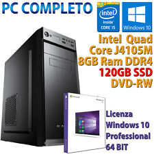 PC COMPUTER DESKTOP NUOVO WIN 10 ASSEMBLATO INTEL QUAD CORE RAM 8GB SSD 120GB