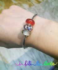 offerta bracciale rigido, bangle, perle, beads, vetro, colorate, rosso, regalo