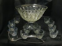 Vintage Jeannette Clear Glass #3200 Feather Punch Bowl COMPLETE Set w/orig box