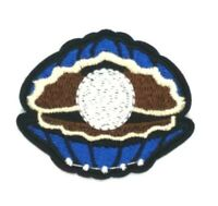 us seller  White Pearl in Shell Embroidered Iron On Patch Applique 1503