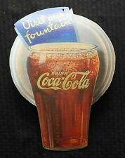 "1930s? ORIGINAL COCA COLA GLASS DIE CUT CARDBOARD ""Visit Our Fountain"" SIGN RARE"
