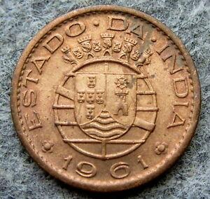 INDIA PORTUGUESE COLONIAL GOA 1961 10 CENTAVOS UNC LUSTRE