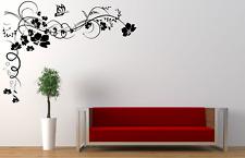 Beautiful Flower Butterfly Corner Floral Transfer Home Wall Decal Sticker FL25