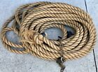 """VINTAGE 1"""" THICK BARN or MARINE TRIPLE BRAIDED BLOCK & TACKLE ROPE 75' LONG BOAT"""