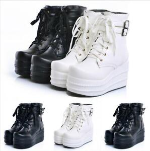 Ankle Boots Leather Punk Biker Lace Up Platform Shoe Womens Cosplay Style 32-52