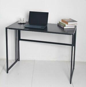 Black Folding Table Desk Office Study Computer Laptop Workstation 100cm Long