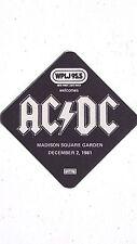 "Vintage 1981 ACDC Concert WPLJ 99.5 Promo Cloth Sticker 3 1/4""x3 1/4"" Unused"