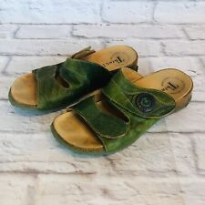 Think! Womens Size 37 Green Leather Slides Wedge Cork Sandals 3a3