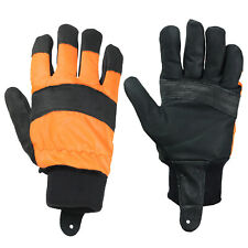 Chainsaw Gloves Large Forestry Orange Hi Visual Safety Glove Comfort Size 10
