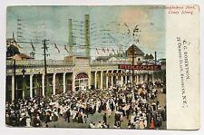 1907 NYC Postcard Steeplechase Park Coney Island Brooklyn entrance crowd signs
