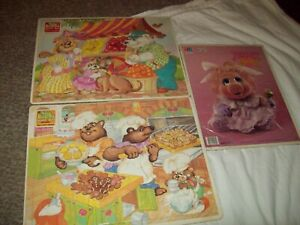 3 vtg Frame Tray puzzles Muppet Babies Piggy + Little Sniff Its scratch n sniff