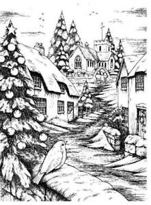 Rubber Stamp A Robin's Christmas Scene