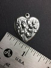 Lily/Valley Heart Charm Jewelry Finding 10314 2 Pc Matte Silver Oxidized