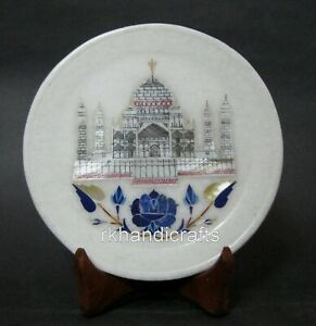 06 Inches Marble Unique Plate Handmade Inlay Plate with Taj Mahal Replica Art