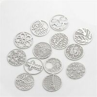 5PCS 22mm Silver Plate Hollow Disc Floating Charm For 30mm Living Memory Locket