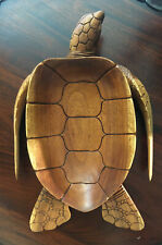Vintage Wooden Sea Turtle logger Bowl Hand Carved scallop 17�L x 11�W
