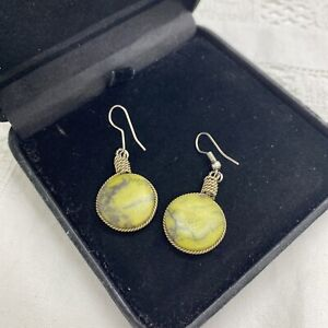 BOHEMIAN Green Polished Stone Dangly Earrings Pierced Summer Holiday Wire Wrap