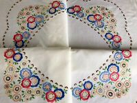 Vintage Hand Embroidered Buttermilk Cream Linen Tablecloth 36x37 Inches