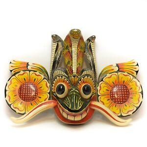 Asian Handmade Wooden Traditional Decorative Cobra Mask Wall Hanging Art