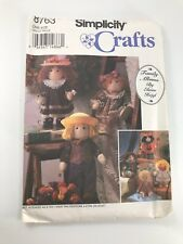 VINTAGE SIMPLICITY CRAFTS #8763 PATTERN FOR FELT DOLL & CLOTHES