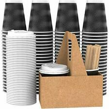 Vanaki 85 Sets 12 Oz Disposable Paper Coffee Cups With Lids Wooden Stirre