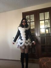 Rare Black Soft Sheep Skin Leather and Ivory Fox Fur Rim Down Jacket Coat