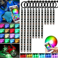 12x RGB 144 LED Neon Under Glow Lights Strip Atmosphere Set for Motorcycle Car