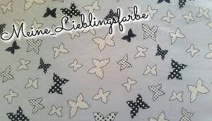 Viskose Meterware Stoff grau Schmetterling butterfly schwarz dots  10€/m