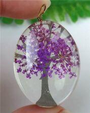 Purple Crystal Glass Dried Flower Oval Pendant Bead 40x30x17mm HP3089
