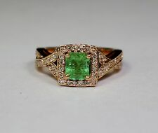 14K Rose Gold White Diamond Emerald Cut Emerald Ring Size 5.25