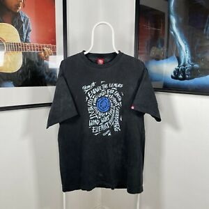 Mens Vintage ELEMENT SKATEBOARDS WIND WATER FIRE EARTH Graphic T-Shirt Black -XL