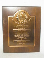 vintage LIONS INTERNATIONAL plaque wood & metal old 1933 - 34 antique