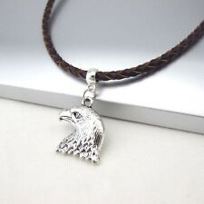 Silver Alloy Hawk American Eagle Head Pendant 3mm Braided Brown Leather Necklace