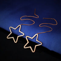 Tassels Hollow Star Rose Gold GP Surgical Stainless Steel Threader Earrings Gift