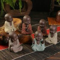Ceramic Buddha Statues Small Monk Figurines Tea Tray Ornaments Home Decor Gift