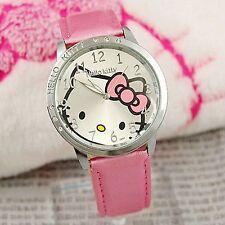 Lady Girl Kid Child Pink Hello Kitty Syntheti Leather Wrist Watch Birthday Gift