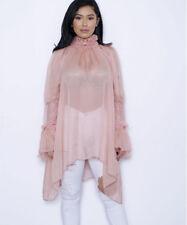 USA Women Pink Chiffon Turtleneck Sheer Mesh Loose Casual Oversize Dress Tops