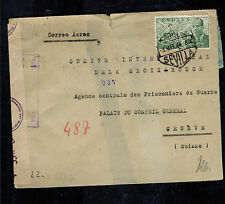 1944 Sevilla Spain Dual Censored Cover to Red Cross Switzerland