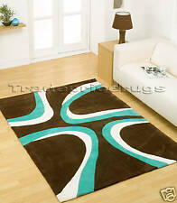 LARGE THICK BROWN BLUE/TEAL IVORY WHITE MODERN SWIRL PATTERN RUG 160x220cm