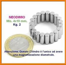 20 Pezzi NEODIMIO CILINDRO 4x10 mm. 2 kg N45 MAGNETI CALAMITA MAGNETE Forte