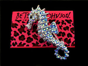 Betsey Johnson Women's Blue AB Crystal Sea Horse Charm Party Brooch Pin Gift